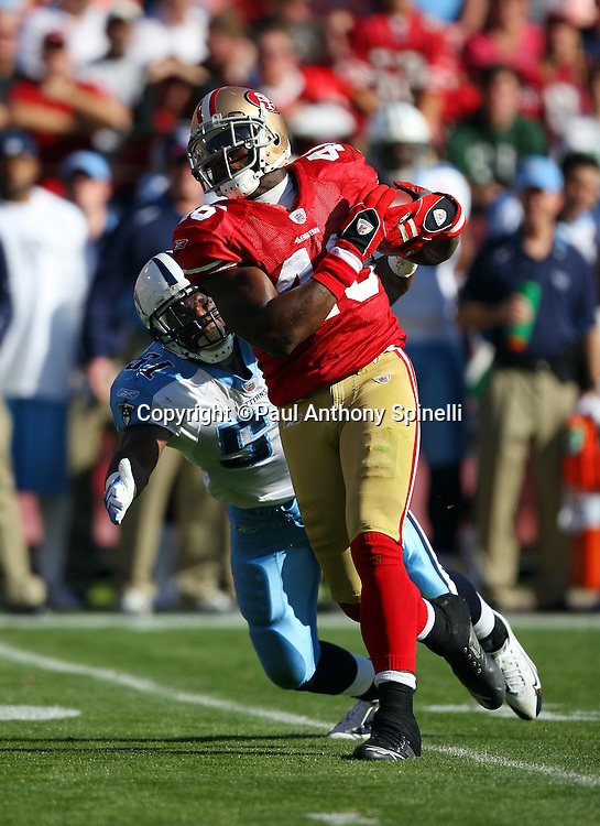 San Francisco 49ers tight end Delanie Walker (46) runs with the ball after catching a pass during the NFL football game against the Tennessee Titans, November 8, 2009 in San Francisco, California. The Titans won the game 34-27. (©Paul Anthony Spinelli)