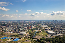 Client: Olympic Delivery Authority. View of Olympic park looking south.  Photo: Anthony Charlton