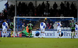 Niall Mason of Doncaster Rovers smashes the penalty into the roof of the Bristol Rovers net - Mandatory by-line: Neil Brookman/JMP - 23/12/2017 - FOOTBALL - Memorial Stadium - Bristol, England - Bristol Rovers v Doncaster Rovers - Sky Bet League One
