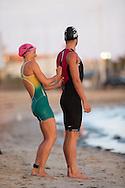 Emma Moffat (AUS) and Clayton Fettell (AUS), February 9, 2014 - Triathlon : Geelong Ironman 70.3, Eastern Beach Precinct, Geelong, Victoria, Australia. Credit: Lucas Wroe