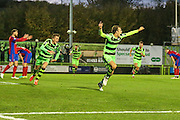 Forest Green Rovers Christian Doidge(9) celebrates his last minute goal during the Vanarama National League match between Forest Green Rovers and Aldershot Town at the New Lawn, Forest Green, United Kingdom on 5 November 2016. Photo by Shane Healey.