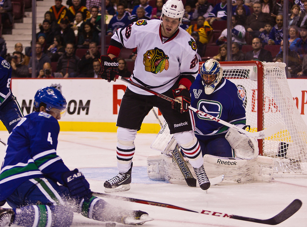 VANCOUVER, CANADA - FEBRUARY 1: The Vancouver Canucks versus the Chicago Blackhawks at Rogers Arena February 1, 2013 in Vancouver, British Columbia, Canada. Vancouver won 2-1 in a shootout. (Photo by Kevin Light)