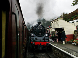 © Licensed to London News Pictures. <br /> 16/10/2016. <br /> Goathland, UK.  <br /> <br /> Steam locomotives arrive at Goathland station during the final day of the North Yorkshire Moors Railway Wartime Weekend event. <br /> The annual event brings together re-enactors and enthusiasts along the length of the NYMR heritage steam railway line to recreate the feel of the war years of the 1940's. <br /> <br /> Photo credit: Ian Forsyth/LNP