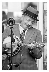 George Formby  (Paul Casper) entertains the public and  troops from both sides in the Town Square at the start of the Northallerton Wartime Weekend <br /> <br /> 15 June 2013<br /> Image © Paul David Drabble<br /> www.pauldaviddrabble.co.uk