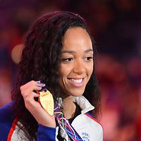 Katarina Johnson-Thompson wins gold in the women's Pentathlon at the IAAF 2018 indoor world championships