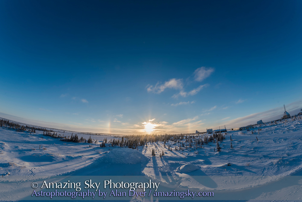 Sundogs after sunrise looknh southeast at the Churchill Northern Studies Centre, Churchill, Manitoba. With the 12mm Rokinon lens.