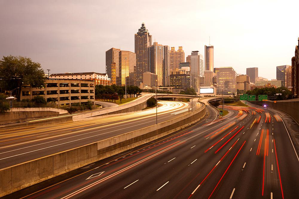 Downtown city skyline at dusk of Atlanta, Georgia, USA