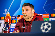 Liverpool midfielder James Milner (7) during the Champions League  quarter-final leg 2 of 2 press conference for Liverpool at Estadio do Dragao, Porto, Portugal on 16 April 2019.