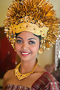 Balinese bride wearing a traditional headdress, Bali, Indonesia