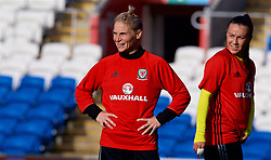 CARDIFF, WALES - Thursday, November 23, 2017: Wales' Jessica Fishlock and Natasha Harding during a training session ahead of the FIFA Women's World Cup 2019 Qualifying Round Group 1 match between Wales and Kazakhstan at the Cardiff City Stadium. (Pic by David Rawcliffe/Propaganda)