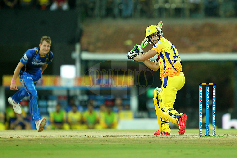 Faf Du Plessis of Chennai Super Kings during match 47 of the Pepsi IPL 2015 (Indian Premier League) between The Chennai Superkings and The Rajasthan Royals held at the M. A. Chidambaram Stadium, Chennai Stadium in Chennai, India on the 10th May 2015.Photo by:  Prashant Bhoot / SPORTZPICS / IPL
