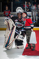 KELOWNA, CANADA - DECEMBER 4: Michael Herringer #30 of Kelowna Rockets earns third star of the game against the Medicine Hat Tigers on December 4, 2015 at Prospera Place in Kelowna, British Columbia, Canada.  (Photo by Marissa Baecker/Shoot the Breeze)  *** Local Caption *** Michael Herringer;