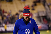 USA forward Tobin Heath warms up prior to the start of the  international friendly women's soccer match against Sweden, Thursday, Nov. 7, 2019, in Columbus, Ohio. USA defeated Sweden 3-2 . (Jason Whitman/Image of Sport)