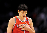 Jan. 8, 2012; Phoenix, AZ, USA; Milwaukee Bucks forward Ersan Ilyasova (7) reacts on the court while playing against the Phoenix Suns at the US Airways Center.  The Suns defeated the Bucks 109-93. Mandatory Credit: Jennifer Stewart-US PRESSWIRE.