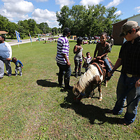 Kassidy McIntosh, 6, gets ready to take a pony ride as part of the Hillsdale Apartments Summer Kick Off Thursday morning.