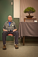 Harlon Prince with his Fieys Nerfolia at the San Diego Bonsai Club Fall Show, Balboa Park, San Diego, California
