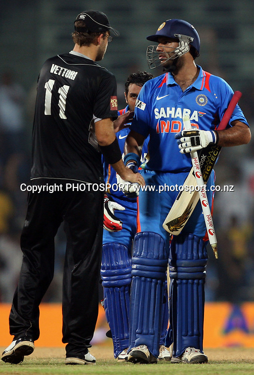 New Zealand captain Daniel Vettori shekh hend with Indian batsman Yuvraj Singh  after losse 5th odi match against india during the India vs New Zealand 5th ODI Played at MA Chidambaram Stadium, Chepauk, Chennai, 10 December 2010 - day/night (50-over match)