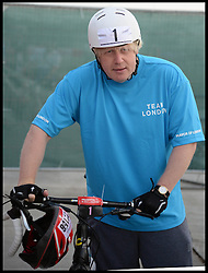 The Mayor of London Boris Johnson takes part in Ride London, a 100 mile cycle ridge starting at the <br /> Olympic Park, London, United Kingdom<br /> Sunday, 4th August 2013<br /> Picture by Andrew Parsons / i-Images