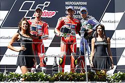 14.08.2016, Red Bull Ring, Spielberg, AUT, MotoGP, NeroGiardini Grand Prix von Oesterreich, Rennen, im Bild von links Andrea Dovizioso (ITA/ Ducati Team), Andrea Iannone (ITA/ Ducati Team) und Jorge Lorenzo (ESP/ Movistar Yamaha MotoGP) bei der Siegerehrung // from left Andrea Dovizioso (ITA/ Ducati Team), Andrea Iannone (ITA/ Ducati Team) and Jorge Lorenzo (ESP/ Movistar Yamaha MotoGP) at the winners ceremony after the race of the Austrian MotoGP Grand Prix at the Red Bull Ring in Spielberg, Austria on 2016/08/14, EXPA Pictures © 2016, PhotoCredit: EXPA/ Erwin Scheriau