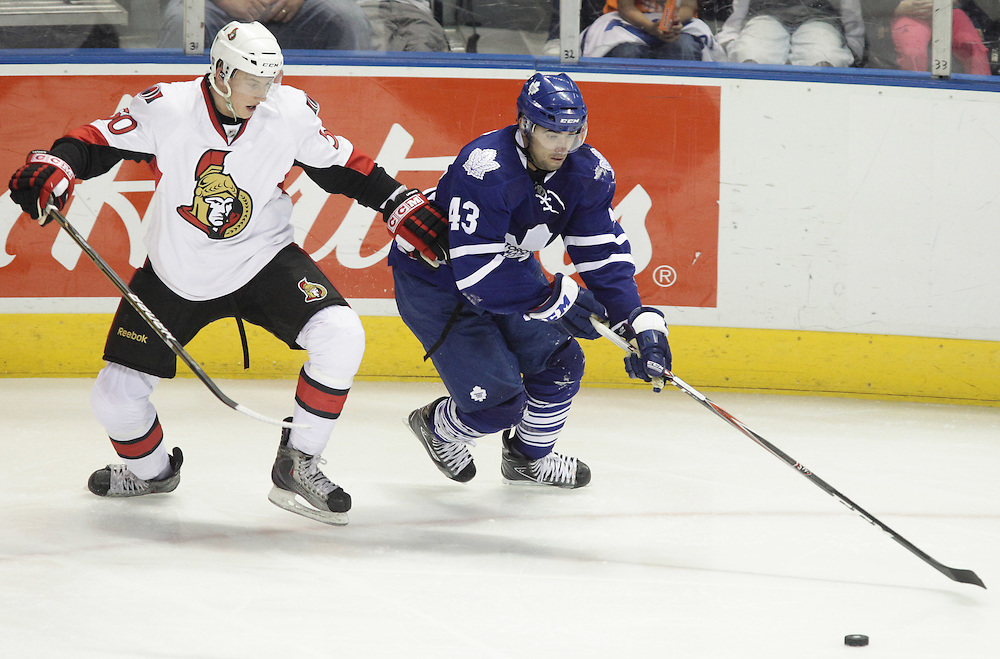 London, ONT.: September 14, 2010 --  Leaf's rookies Nazem Kadri tries to get past Ottawa Senators rookie Jakub Culek during the teams final game of the 2010 NHL Rookie Tournament at the John Labatt Centre in London, Ontario, September 14, 2010. The Senators defeated the Leafs 3-2.<br /> (GEOFF ROBINS for National Post)