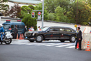"May 25, 2019, Tokyo, Japan: President Donald Trump touched down in Japan today to start a four day state visit. Upon arrival, he and First Lady Melania headed directly to the US Ambassador's official residence where he addressed a group of Japanese and American business leaders. Hosted by US Ambassador William Hagerty, the president said the US and Japan are ""hard at work"" to iron out a trade agreement, but also made mention of a trade gap in Japan's favor. In attendance were Toyota Motor Corp President Akio Toyoda and SoftBank CEO Masayoshi Son. Trump is in Japan for trade talks and to discuss the threat of North Korea. He will also meet with Japan's new emperor Naruhito, play a round of golf with PM Abe and attend a sumo tournament.  Photo by Torin Boyd."