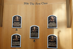 The first Hall of Fame class of 1936, with plaques of Christy Mathewson, Ty Cobb, Babe Ruth,  Honus Wagner, and Walter Johnson, National Baseball Hall of Fame and Museum, Cooperstown, New York, United States of America