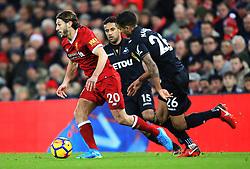 Adam Lallana of Liverpool takes on Kyle Naughton of Swansea City - Mandatory by-line: Matt McNulty/JMP - 26/12/2017 - FOOTBALL - Anfield - Liverpool, England - Liverpool v Swansea City - Premier League