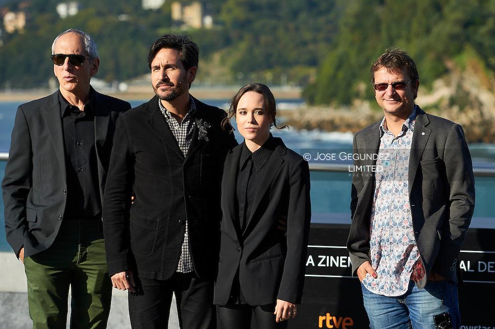 Peter Sollet, Ellen Page, Michael Shamberg, Phil Hunt pose for 'Freeheld' photocall during 63rd San Sebastian International Film Festival at the Aquarium on September 24 in San Sebastian