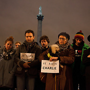 Londoners show their solidarity with the 12 people killed in an attack on the magazine Charlie Hebdo in Paris and their revulsion of the attack on freedom of speech at a vigil in Trafalgar Square. Three attackers killed ten journalist working for Charlie Hebdo and two police officers, the worst terrorist attack in Paris, France in 50 years.