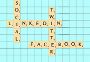 Digitally created Scrabble tiles on a board spelling out Social media concept. Facebook, linkedin and twitter