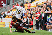 Bradford City defender Stephen Darby tackles Sheffield United forward Billy Sharp during the Sky Bet League 1 match between Bradford City and Sheffield Utd at the Coral Windows Stadium, Bradford, England on 20 September 2015. Photo by Simon Davies.