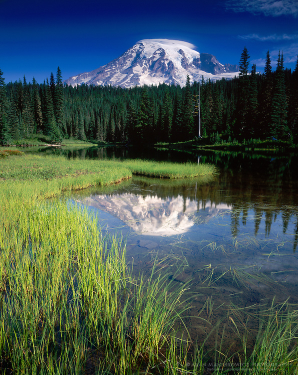 Mount Rainier 14,411¬?ft (4,392¬?m) from Reflection Lake, Mount Rainier National Park