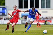 Wrexham AFC Midfielder, Ollie Shenton (23) and Eastleigh Defender, Gavin Hoyte (20) during the Vanarama National League match between Eastleigh and Wrexham FC at Arena Stadium, Eastleigh, United Kingdom on 29 April 2017. Photo by Adam Rivers.