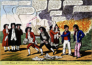 The fall of Washington--or Maddy in full flight.  Cartoon showing President James Madison and probably John Armstrong, his secretary of war, both with bundles of papers, fleeing from Washington, with burning buildings behind them. engraving, colour. 1814.