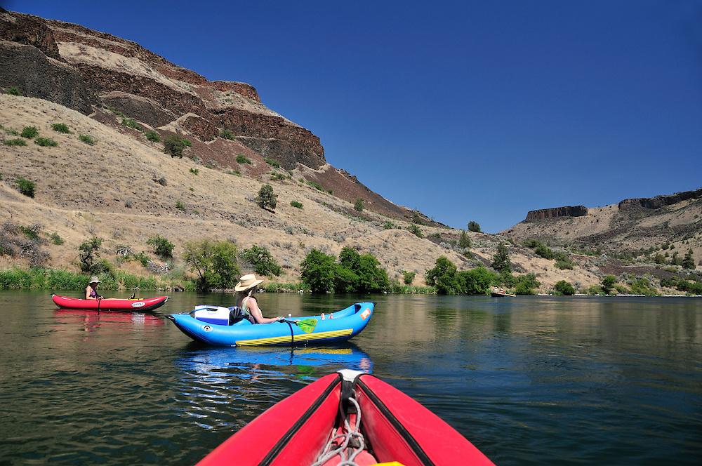 Inflatable Kayaks  rafting on Deschutes River, Central Oregon,Oregon,USA..