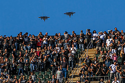 OAKLAND, CA - NOVEMBER 17: A pair of McDonnell-Douglas F-15C Eagle fighter jets from the 144th Fighter Wing, California Air National Guard, flies over RingCentral Coliseum during the National Anthem before the game between the Oakland Raiders and the Cincinnati Bengals on November 17, 2019 in Oakland, California. The Oakland Raiders defeated the Cincinnati Bengals 17-10. (Photo by Jason O. Watson/Getty Images) *** Local Caption ***