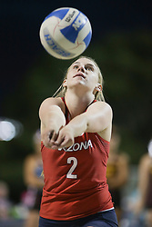 April 6, 2018 - Tucson, AZ, U.S. - TUCSON, AZ - APRIL 06: Arizona Wildcats defender Makenna Martin (2) hits the ball during a college beach volleyball match between the Arizona State Sun Devils and the Arizona Wildcats on April 06, 2018, at Bear Down Beach in Tucson, AZ. Arizona defeated Arizona State 4-1. (Photo by Jacob Snow/Icon Sportswire (Credit Image: © Jacob Snow/Icon SMI via ZUMA Press)