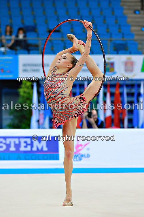Kabrits Laurabell during qualifying at hoop in Pesaro World Cup 10 April 2015. Laurabell is an Estonian rhythmic gymnastics athlete born on March 3 ,1999 in Tallinn, Estonia.