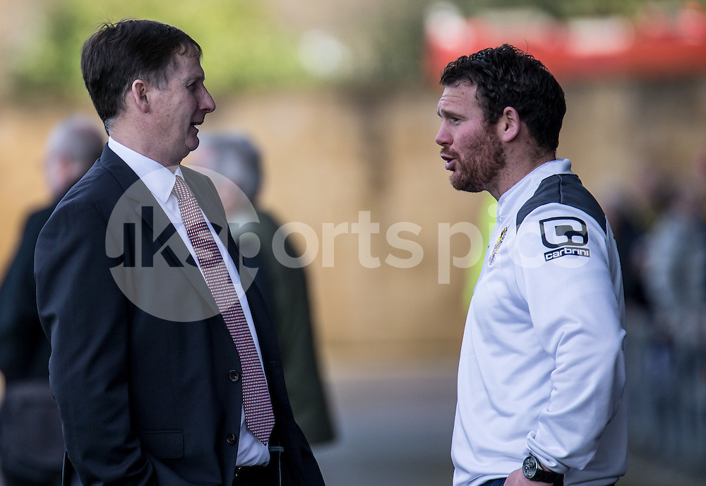 Glenn Roeder (left) new managerial advisor until the end of the season with Stevenage Caretaker Manager Darren Sarll before the Sky Bet League 2 match between Oxford United and Stevenage at the Kassam Stadium, Oxford, England on the 25th March 2016. Photo by Liam McAvoy.