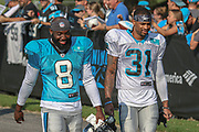 Carolina Panthers safety Cole Luke (8) and wide receiver Aldrick Robinson (31) as the exit the field after day two during training camp at Wofford College, Saturday, July 27, 2019, in Spartanburg, S.C. (Brian Villanueva/Image of Sport)