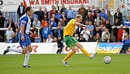 Hartlepool - Saturday August 29th, 2009: Stephen Hughes of Norwich City scores their second goal during the Coca Cola League One match at Victoria Park, Hartlepool. (Pic by Jed Wee/Focus Images)..