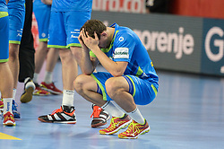 Darko Cingesar of Slovenia after handball match between National teams of Slovenia and Czech Republic on Day 7 in Main Round of Men's EHF EURO 2018, on January 24, 2018 in Arena Varazdin, Varazdin, Croatia. Photo by Mario Horvat / Sportida