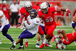NORMAL, IL - October 06: Ty Deforest and Zachary Mathews zero in on Steve McShane during a college football game between the ISU (Illinois State University) Redbirds and the Western Illinois Leathernecks on October 06 2018 at Hancock Stadium in Normal, IL. (Photo by Alan Look)