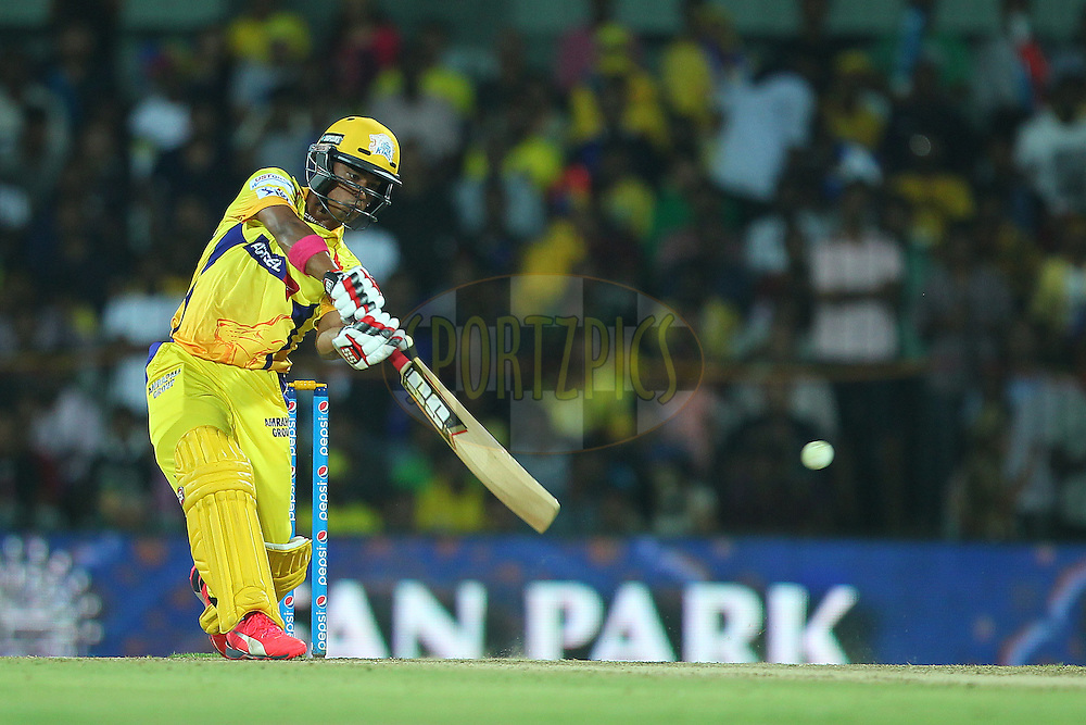 Pawan Negi of the Chennai Superkings hits out and is caught during match 47 of the Pepsi IPL 2015 (Indian Premier League) between The Chennai Superkings and The Rajasthan Royals held at the M. A. Chidambaram Stadium, Chennai Stadium in Chennai, India on the 10th May 2015.<br /> <br /> Photo by:  Ron Gaunt / SPORTZPICS / IPL