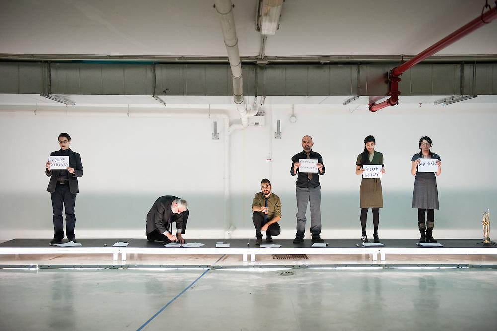 Galaxy <br /> Blitz Theatre Co <br /> Michael Cacoyannis Foundation 2010<br /> <br /> Galaxy is a four-hour parade of people, things, notions, objects, movements, expressions and words that are lost.<br /> <br /> Directed by : blitz theatre group<br /> Dramaturgy : blitz theatre group, &Nu;ikos Flessas<br /> Scenic design : Eva Manidaki <br /> Performers : Thanassis Demiris, Nikos Flessas, Thalia Ioannidou, Eleni Karagiorgi, Elina Loukou, Michalis Mathioudakis, Aggeliki Papoulia, Christos Passalis, Giorgos Valais