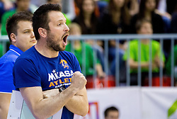Luka Slabe, head coach of ACH reacts during volleyball game between OK Panvita Pomgrad and ACH Volley in Final of 1st DOL Slovenian National Championship 2014, on April 15, 2014 in Murska Sobota, Slovenia. ACH won 3-1 and became Slovenian Volleyball Champion 2014. Photo by Vid Ponikvar / Sportida
