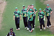 Central Stags' Blair Tickner celebrates the wicket of Wellington Firebirds' Devon Conway with his team mates during the Burger King Super Smash 2018/19 game between Wellington Firebirds vs Central Stags, Basin Reserve, Wellington, Friday 01st February 2019. Copyright Photo: Raghavan Venugopal / © www.Photosport.nz 2019