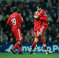 PRESTON, ENGLAND - Saturday, January 3, 2009: Liverpool's Albert Riera celebrates scoring the opening goal with team-mates Javier Mascherano and Ryan Babel against Preston North End during the FA Cup 3rd Round match at Deepdale. (Photo by David Rawcliffe/Propaganda)