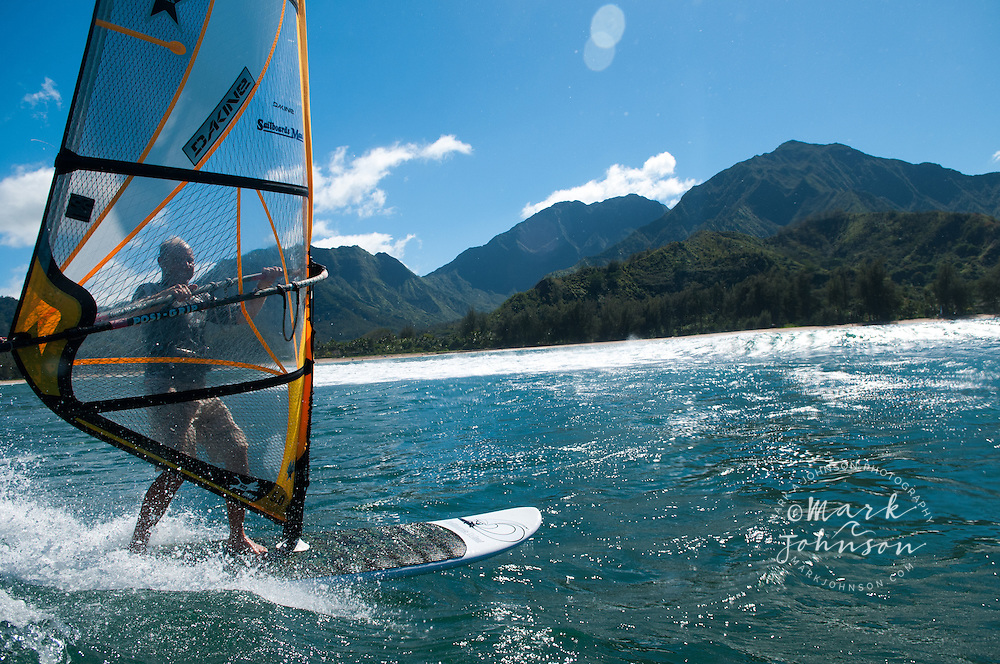 Windsurfing in Hanalei Bay, Kauai, Hawaii