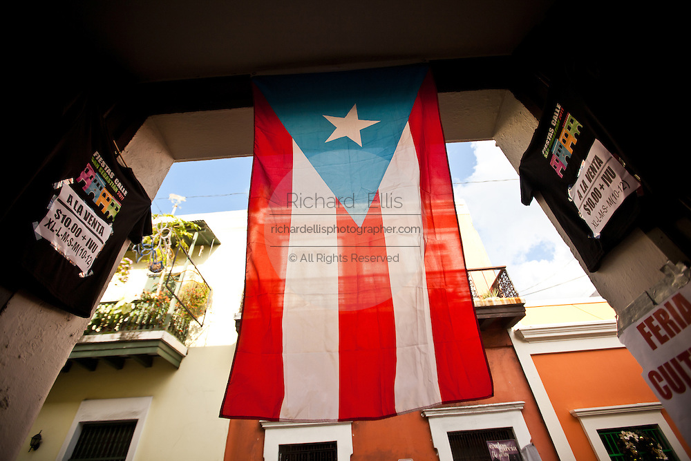 Puerto Rican flag hangs from a doorway in Old San Juan, Puerto Rico